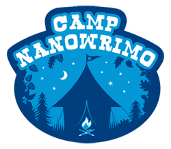 """camp nanowrimo"" on a night sky above a tent with a campfire"