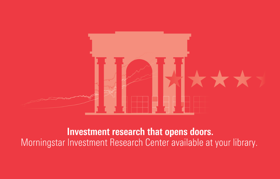 [IMG] Pink field with a pale blocky building with columns on it, a line of four stars going off to the right. [TEXT] Investment research that opens doors. Morningstar Investment Research Center available at your library