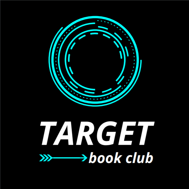 Black field with neon blue nested circles, the word TARGET book club underneath, a horizontal neon blue arrow pointing to book club
