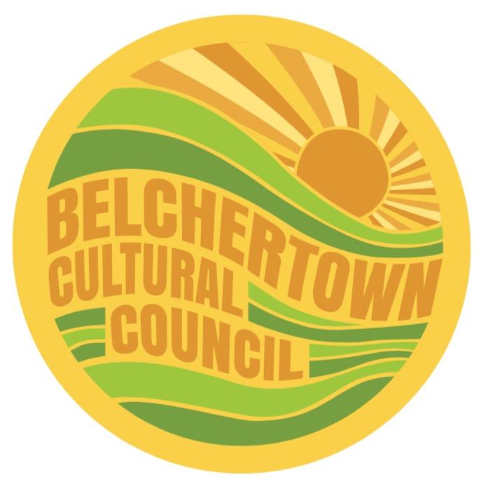 "circular logo of a sun over hills, ""belchertown cultural council"""