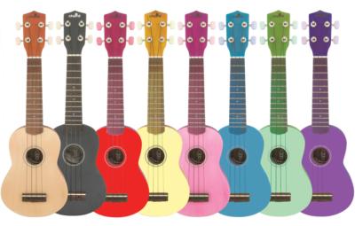 A rainbow of ukuleles