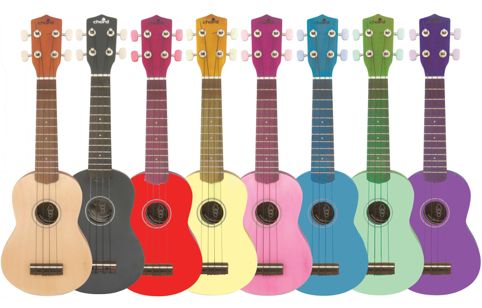 A rainbow of ukuleles