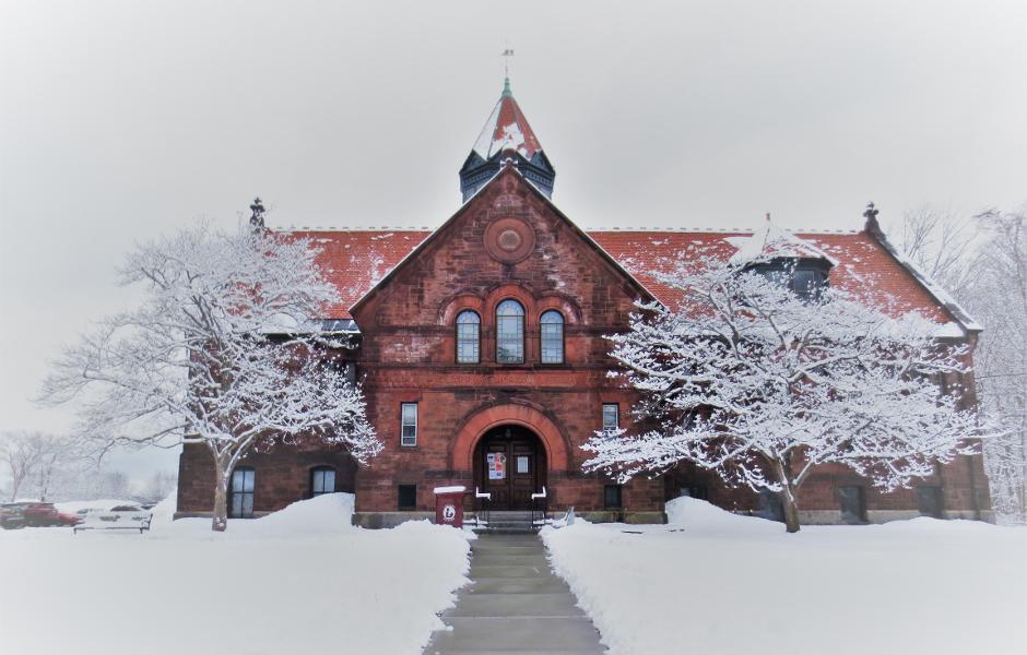 clapp memorial library in a snowstorm