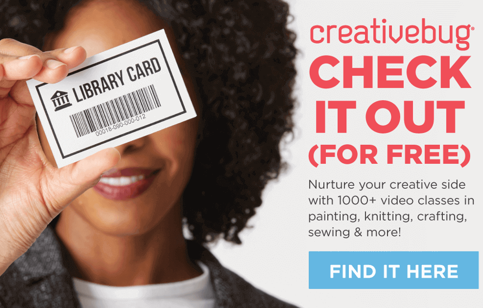 img: woman holding a library card in front of her face, text: creativebug check it out for free