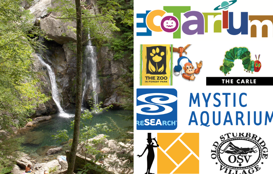 "collage of images and logos: a waterfall, the ecotarium logo, the zoo at forest park with a monkey, a green and red caterpillar above the word ""the carle"", the mystic aquarium, the springfield museums, and old sturbridge villiage"
