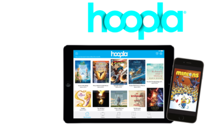 """text: """"hoopla"""" image: hoopla app on tablet and phone displaying book covers"""